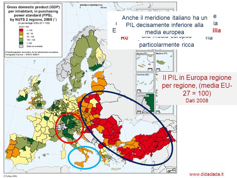 Il PIL in Europa regione per regione, (media EU-27 = 100)