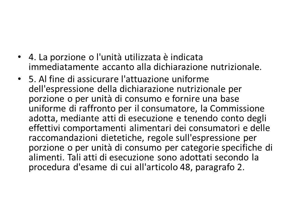 4. La porzione o l unità utilizzata è indicata immediatamente accanto alla dichiarazione nutrizionale.