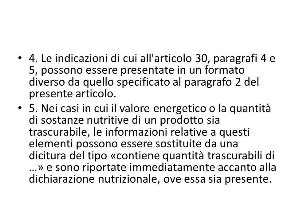 4. Le indicazioni di cui all articolo 30, paragrafi 4 e 5, possono essere presentate in un formato diverso da quello specificato al paragrafo 2 del presente articolo.