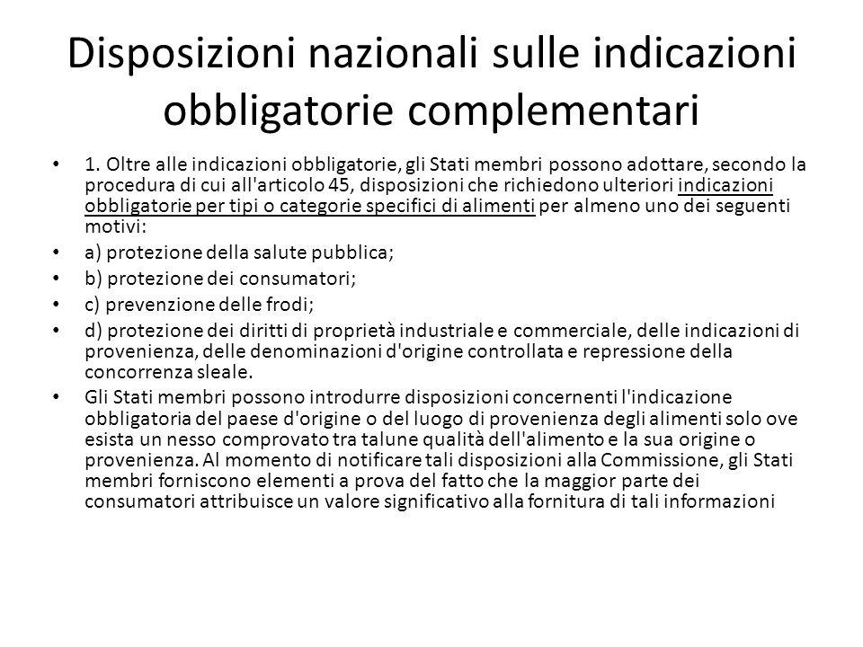 Disposizioni nazionali sulle indicazioni obbligatorie complementari