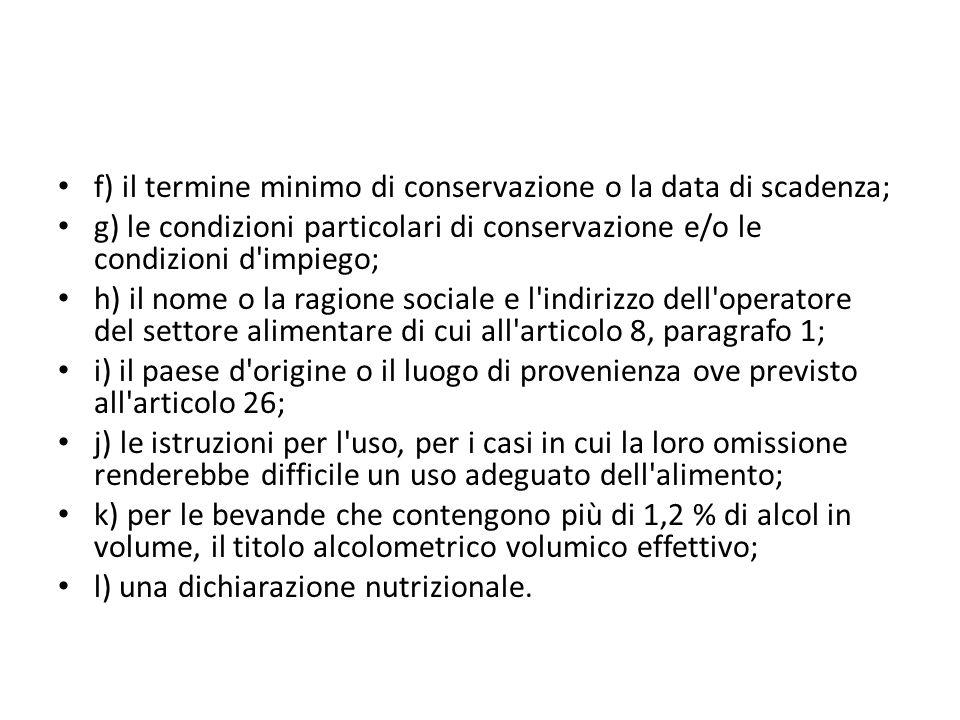 f) il termine minimo di conservazione o la data di scadenza;
