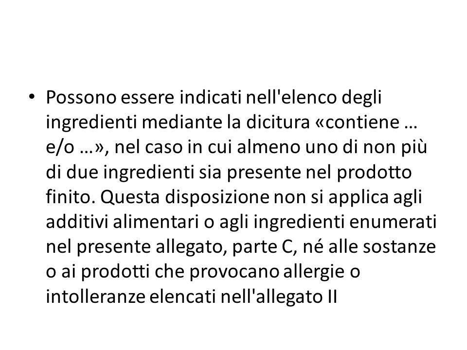 Possono essere indicati nell elenco degli ingredienti mediante la dicitura «contiene … e/o …», nel caso in cui almeno uno di non più di due ingredienti sia presente nel prodotto finito.
