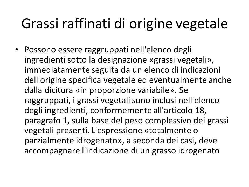 Grassi raffinati di origine vegetale
