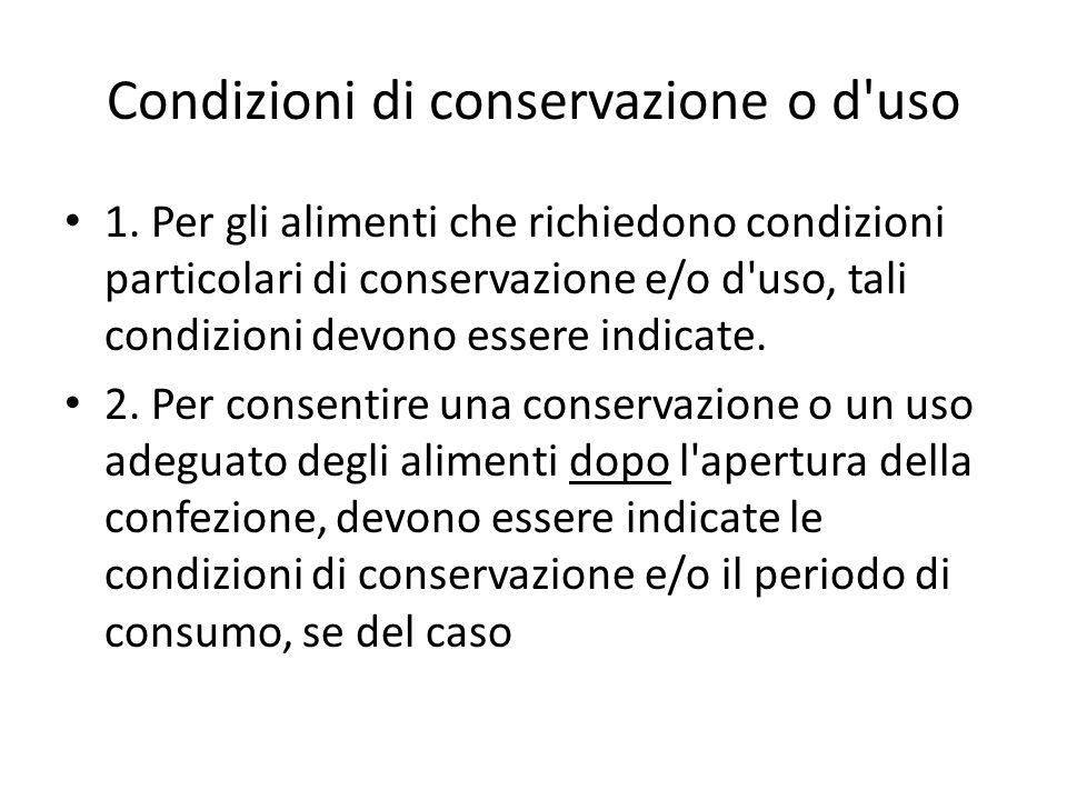 Condizioni di conservazione o d uso