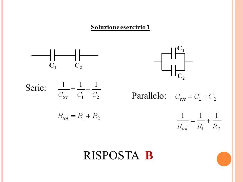 Soluzione esercizio 1 C1 C2 C1 C2 Serie: Parallelo: RISPOSTA B