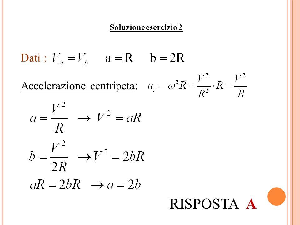 Soluzione esercizio 2 Dati : Accelerazione centripeta: RISPOSTA A