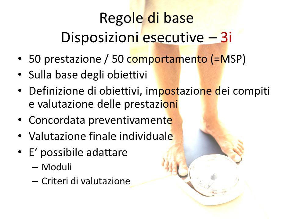 Regole di base Disposizioni esecutive – 3i