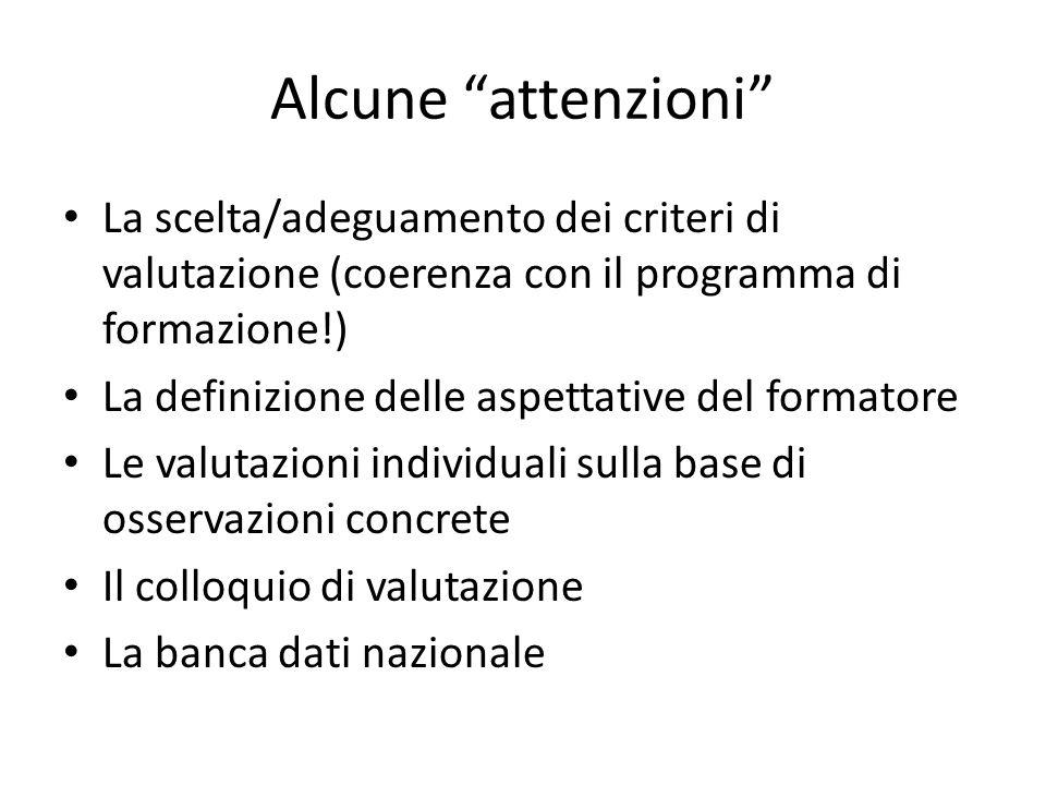 Alcune attenzioni La scelta/adeguamento dei criteri di valutazione (coerenza con il programma di formazione!)