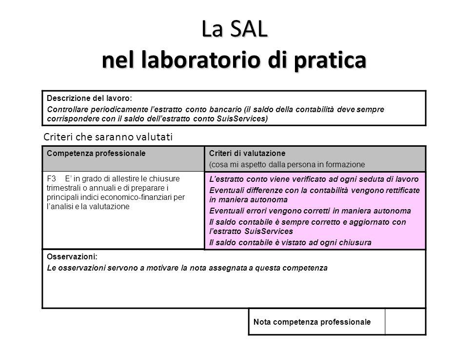 La SAL nel laboratorio di pratica