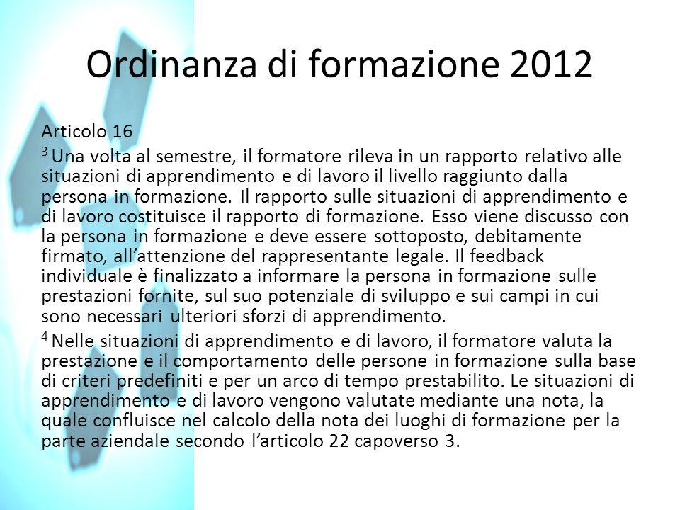 Ordinanza di formazione 2012