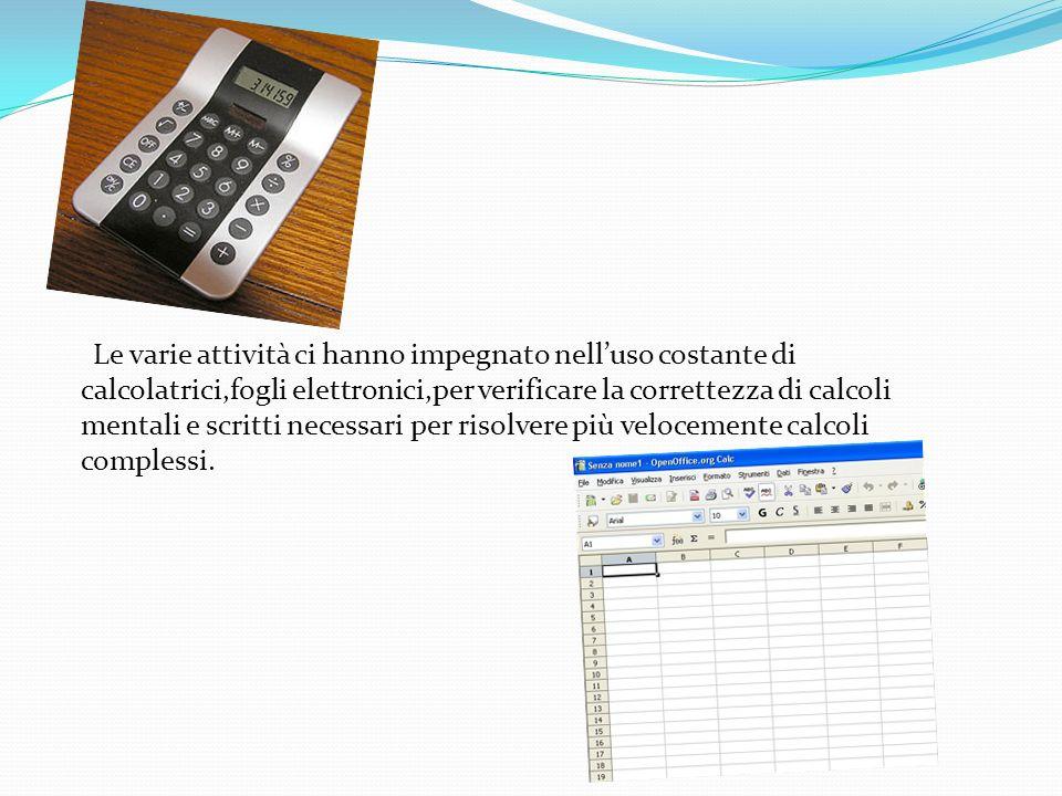 Le varie attività ci hanno impegnato nell'uso costante di calcolatrici,fogli elettronici,per verificare la correttezza di calcoli mentali e scritti necessari per risolvere più velocemente calcoli complessi.