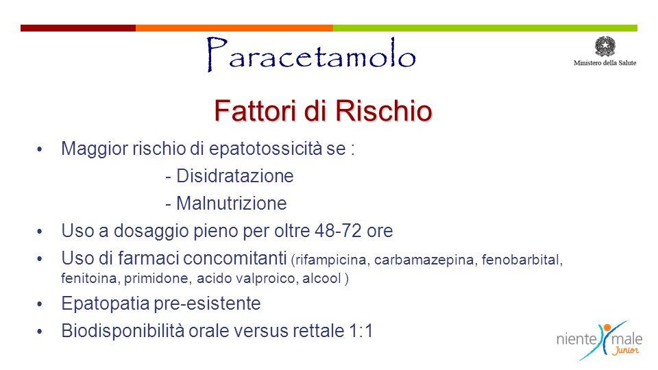 Paracetamolo Fattori di Rischio Maggior rischio di epatotossicità se :