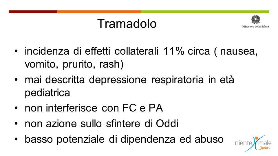 Tramadolo incidenza di effetti collaterali 11% circa ( nausea, vomito, prurito, rash) mai descritta depressione respiratoria in età pediatrica.