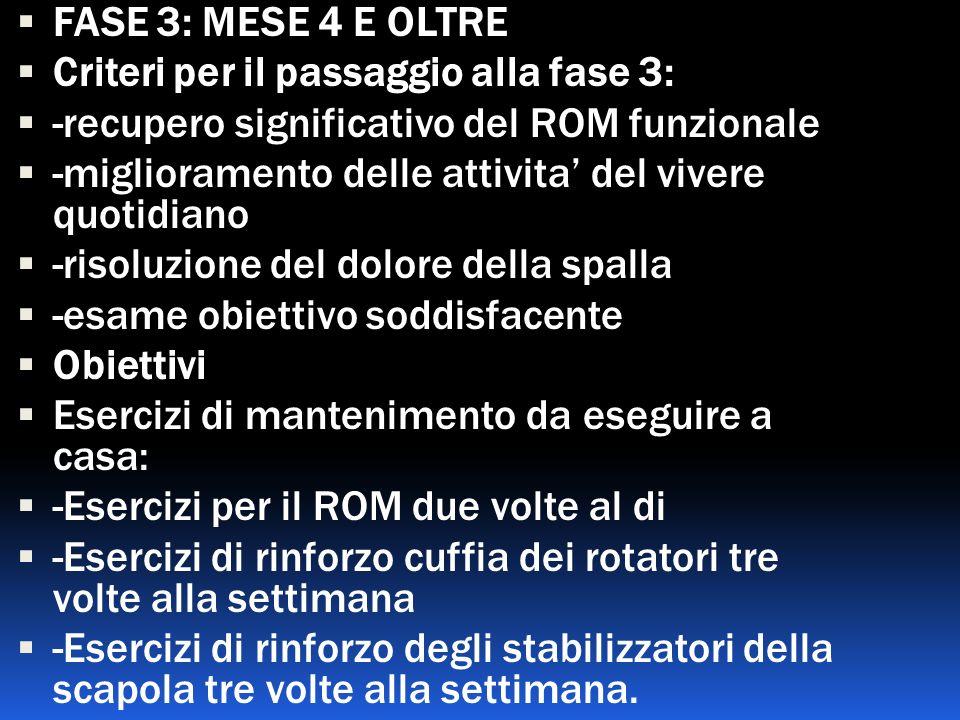 FASE 3: MESE 4 E OLTRE Criteri per il passaggio alla fase 3: -recupero significativo del ROM funzionale.