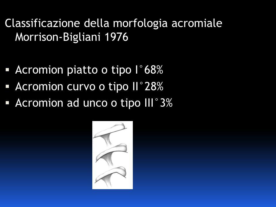 Classificazione della morfologia acromiale Morrison-Bigliani 1976