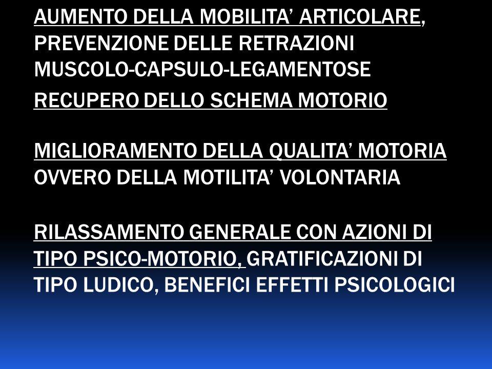 AUMENTO DELLA MOBILITA' ARTICOLARE, PREVENZIONE DELLE RETRAZIONI MUSCOLO-CAPSULO-LEGAMENTOSE