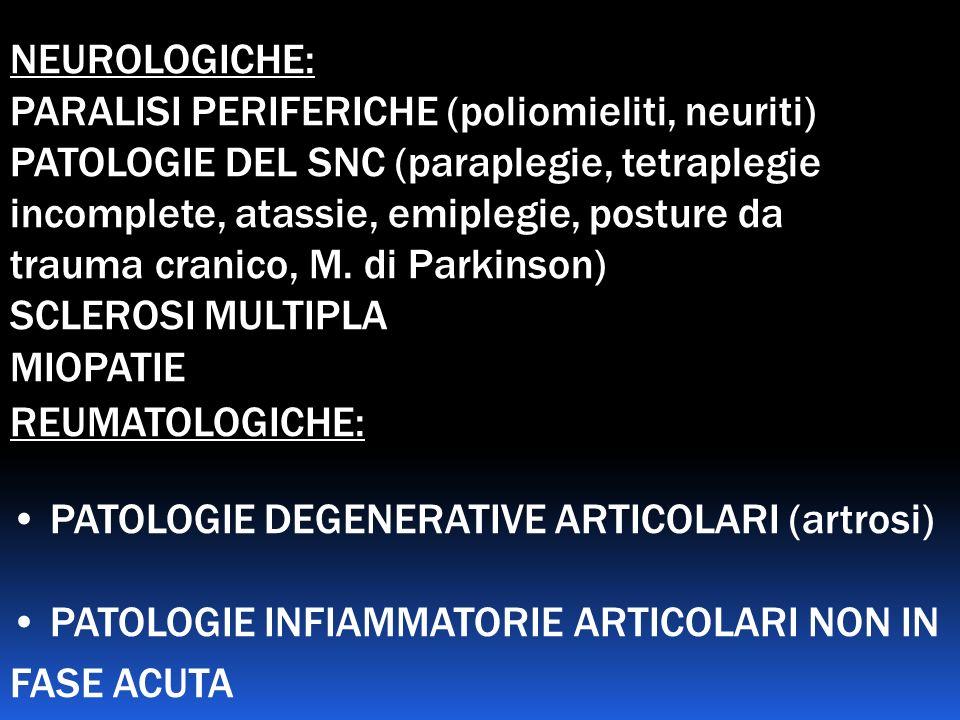 NEUROLOGICHE: PARALISI PERIFERICHE (poliomieliti, neuriti)