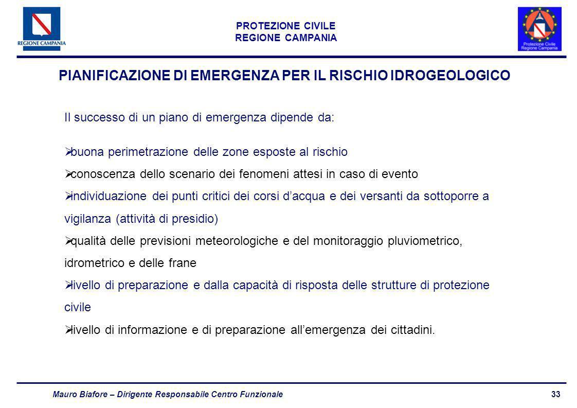 PIANIFICAZIONE DI EMERGENZA PER IL RISCHIO IDROGEOLOGICO