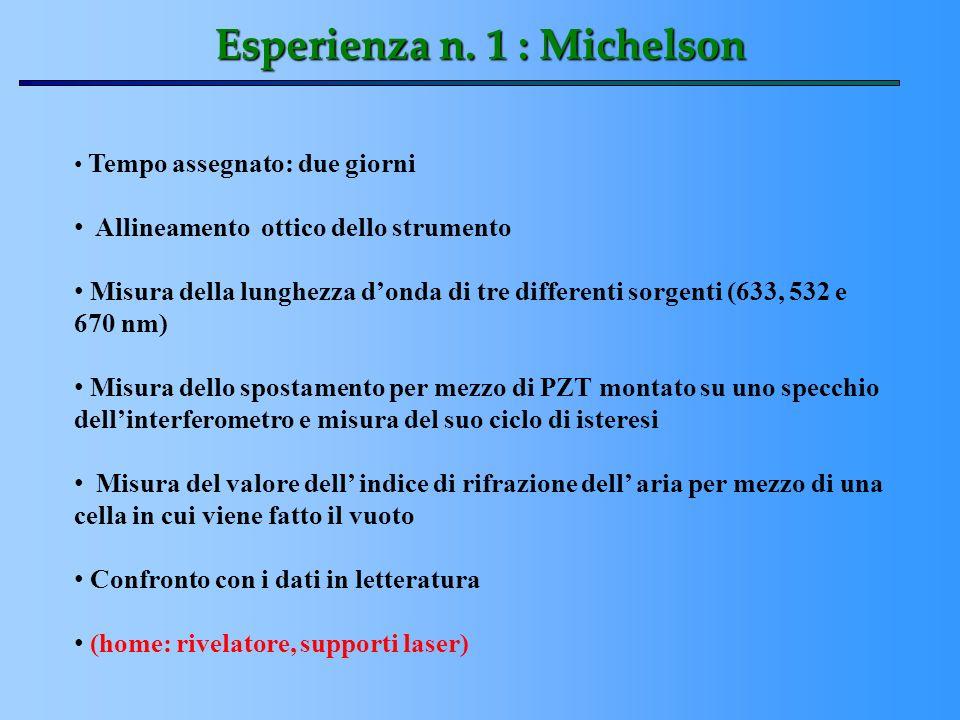 Esperienza n. 1 : Michelson