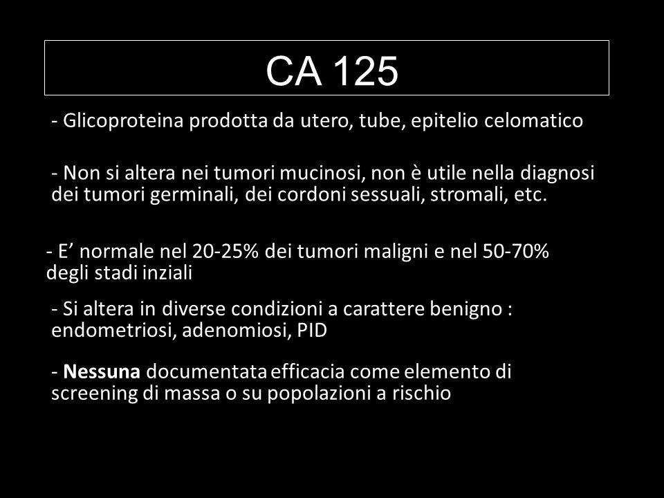 CA 125 Glicoproteina prodotta da utero, tube, epitelio celomatico