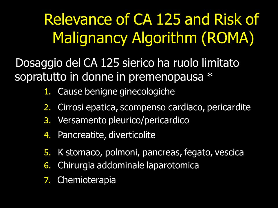Relevance of CA 125 and Risk of