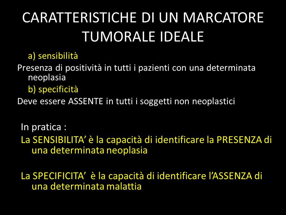 CARATTERISTICHE DI UN MARCATORE TUMORALE IDEALE