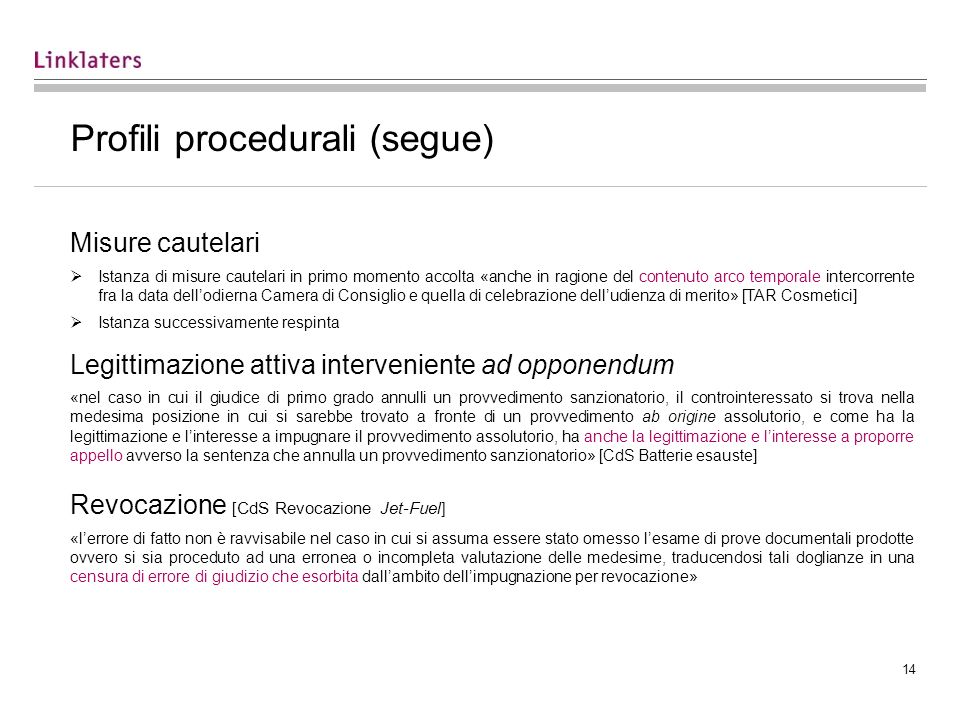 Profili procedurali (segue)