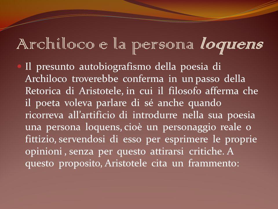 Archiloco e la persona loquens