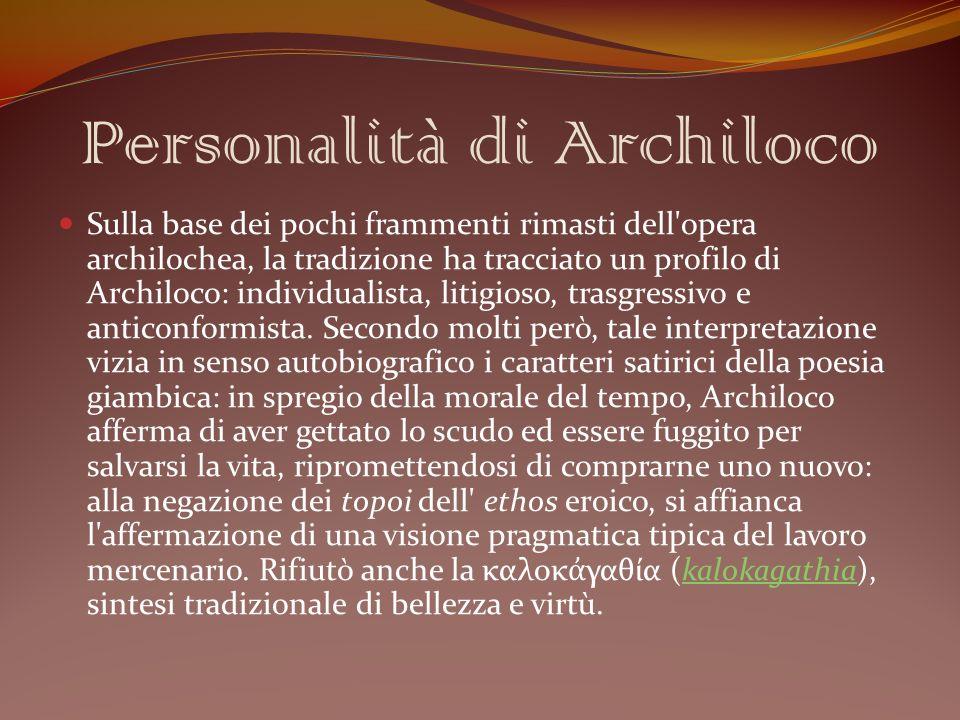 Personalità di Archiloco