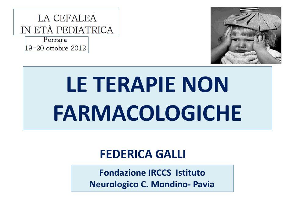 LE TERAPIE NON FARMACOLOGICHE