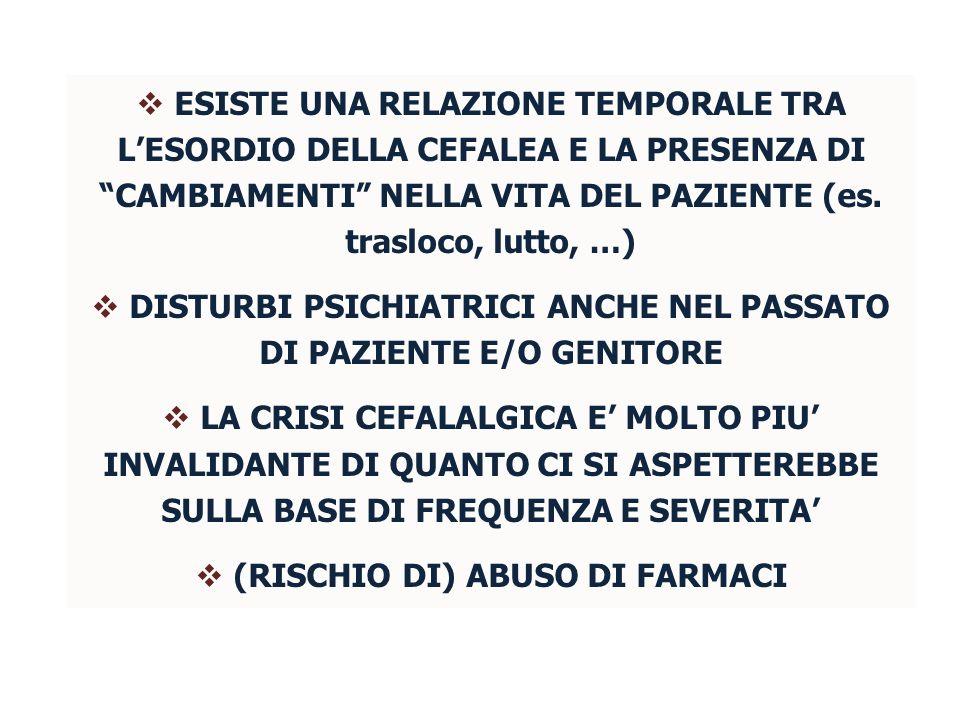 DISTURBI PSICHIATRICI ANCHE NEL PASSATO DI PAZIENTE E/O GENITORE