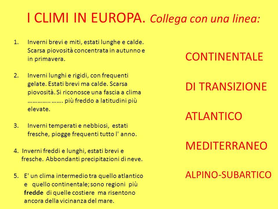 I CLIMI IN EUROPA. Collega con una linea: