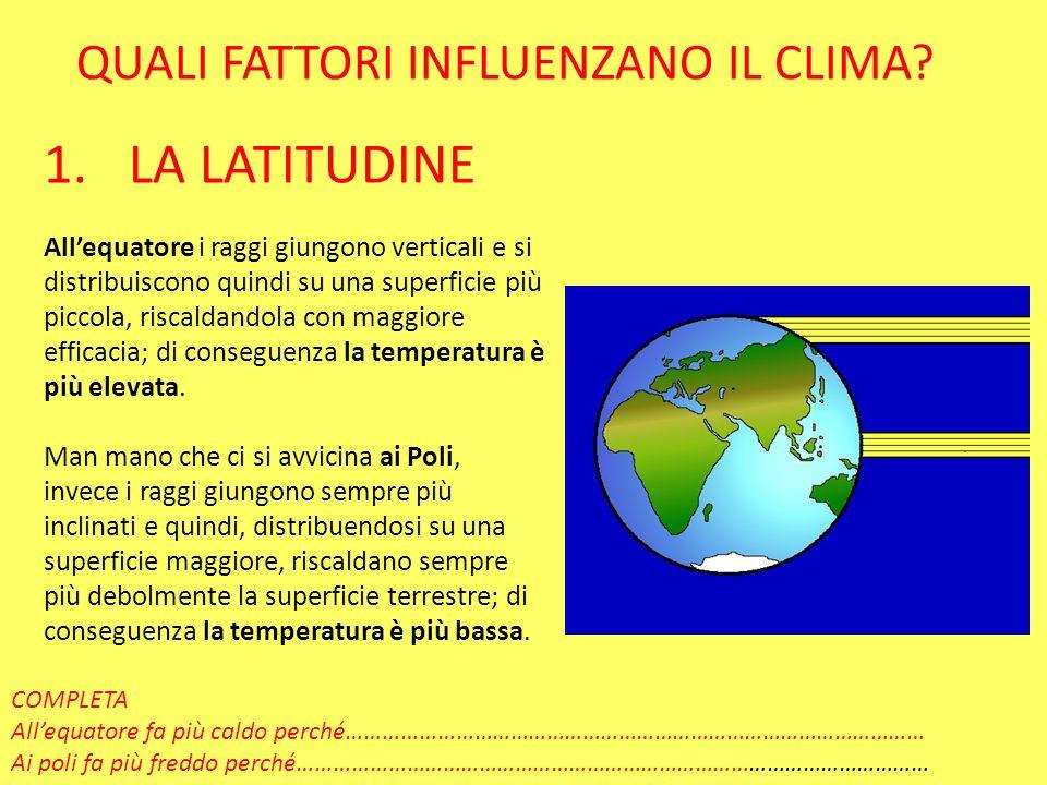 LA LATITUDINE QUALI FATTORI INFLUENZANO IL CLIMA