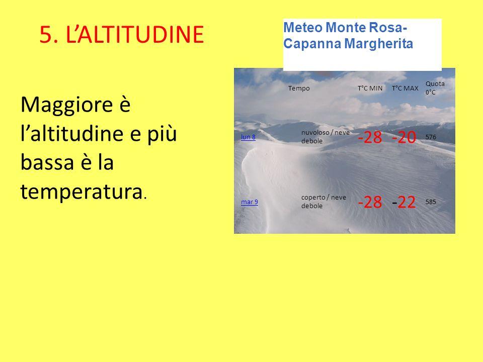 5. L'ALTITUDINE Maggiore è l'altitudine e più bassa è la temperatura.