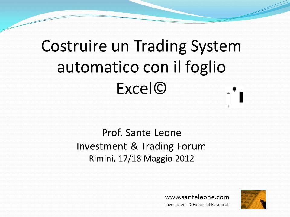 Costruire un Trading System automatico con il foglio Excel©