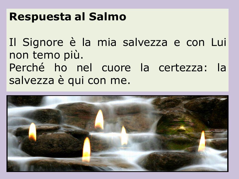 Respuesta al Salmo Il Signore è la mia salvezza e con Lui non temo più.
