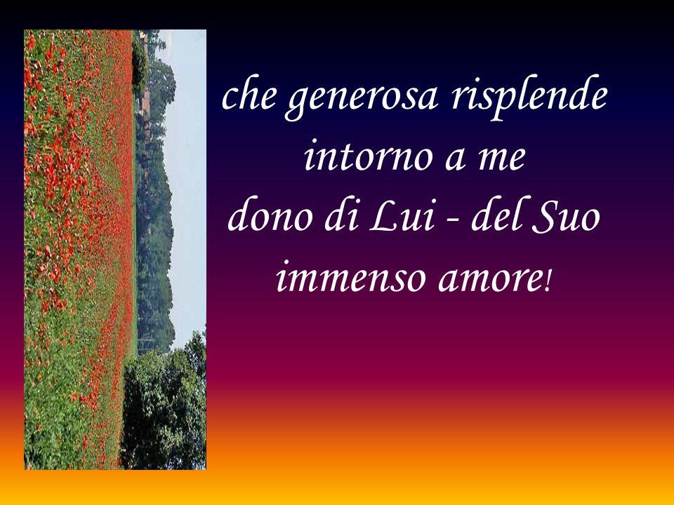 che generosa risplende intorno a me dono di Lui - del Suo immenso amore!