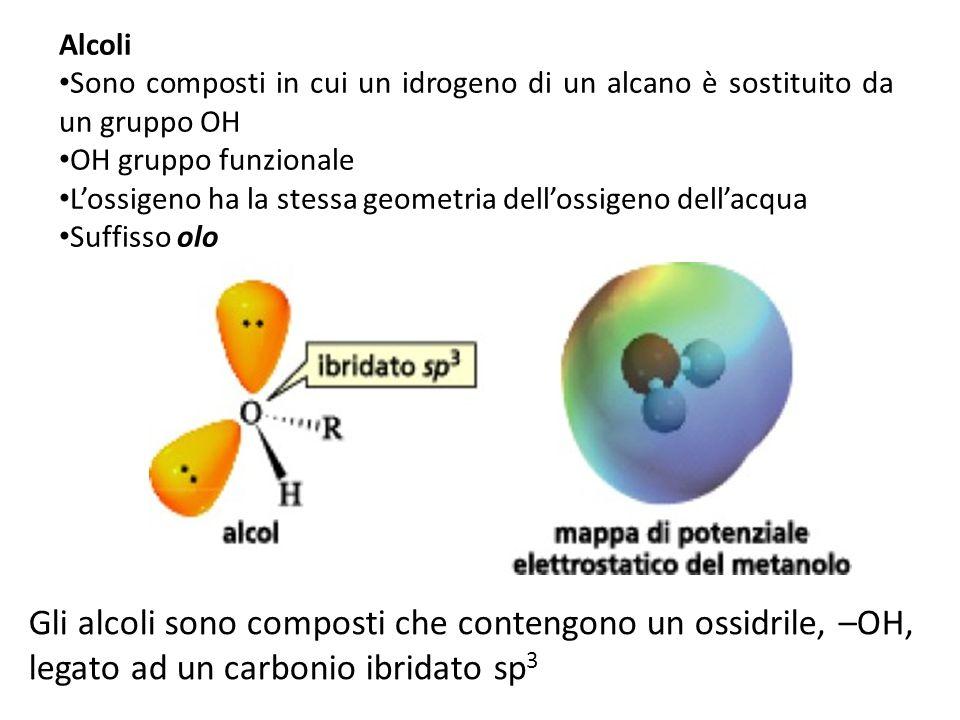Alcoli Sono composti in cui un idrogeno di un alcano è sostituito da un gruppo OH. OH gruppo funzionale.