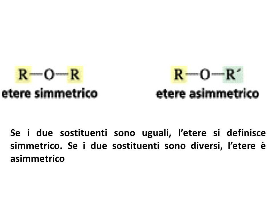 Se i due sostituenti sono uguali, l'etere si definisce simmetrico
