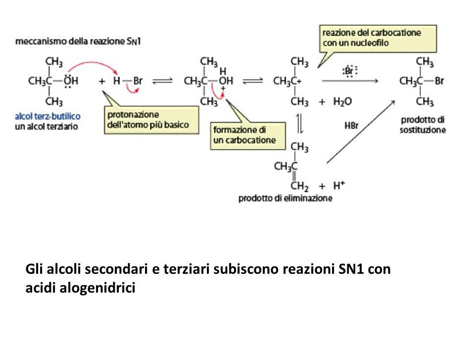 Gli alcoli secondari e terziari subiscono reazioni SN1 con acidi alogenidrici