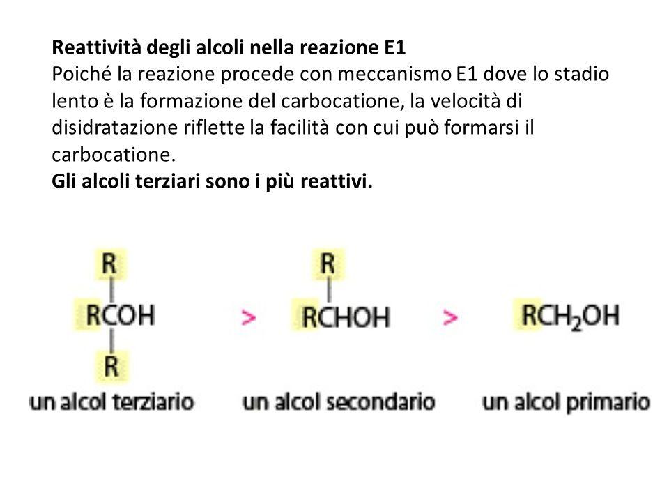 Reattività degli alcoli nella reazione E1