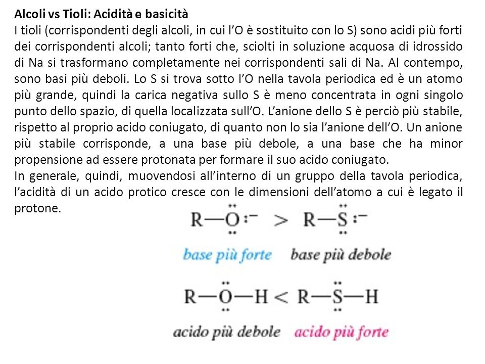 Alcoli vs Tioli: Acidità e basicità
