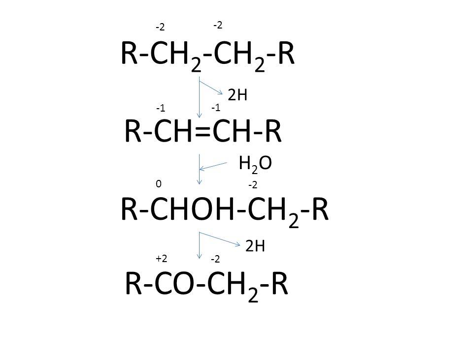R-CH2-CH2-R R-CH=CH-R R-CHOH-CH2-R R-CO-CH2-R H2O 2H 2H -2 -2 -1 -1 -2