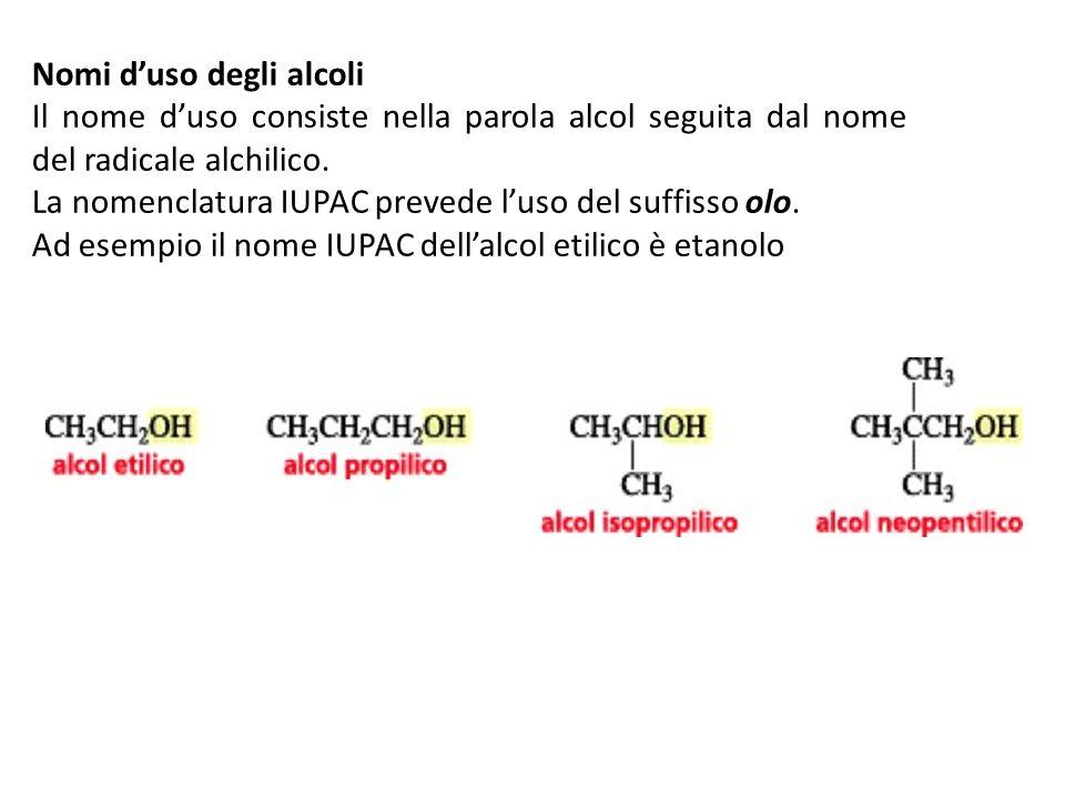 Nomi d'uso degli alcoli