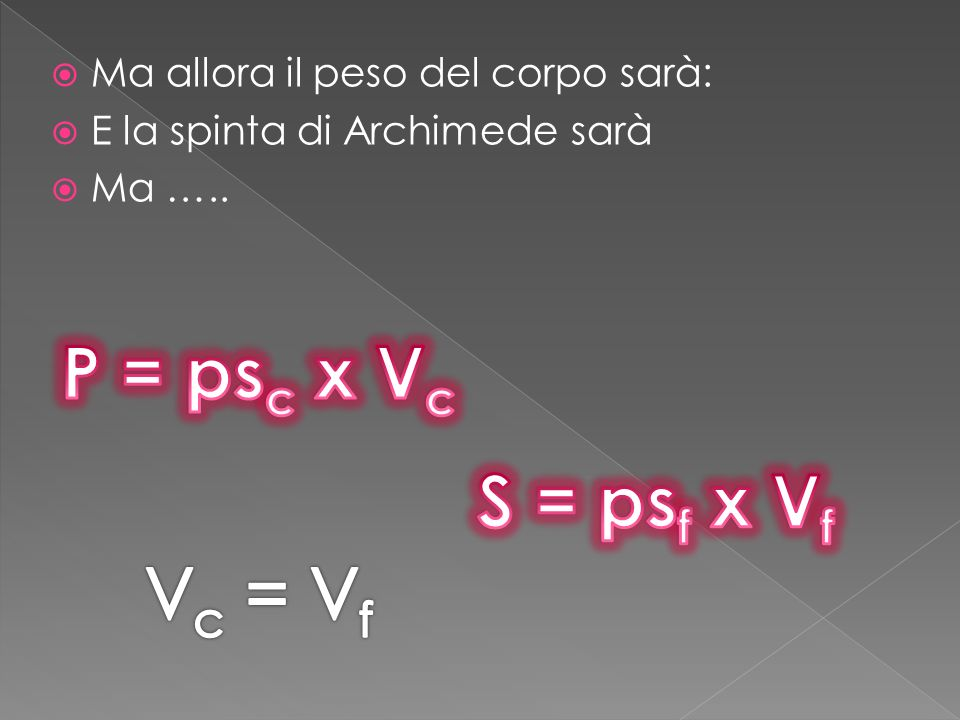 P = psc x Vc S = psf x Vf Vc = Vf Ma allora il peso del corpo sarà: