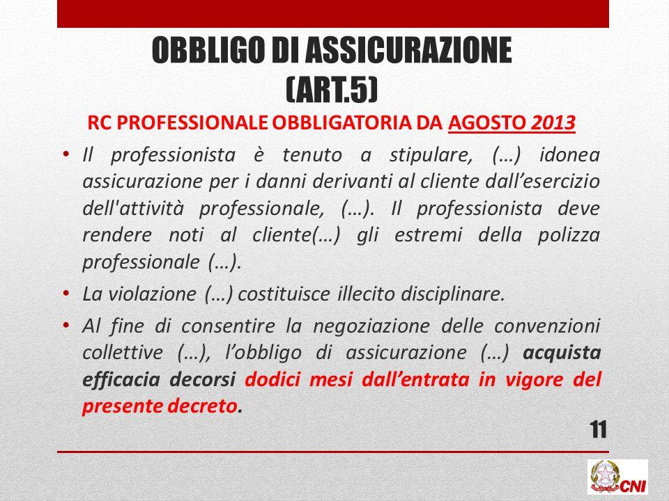 OBBLIGO DI ASSICURAZIONE (ART.5)