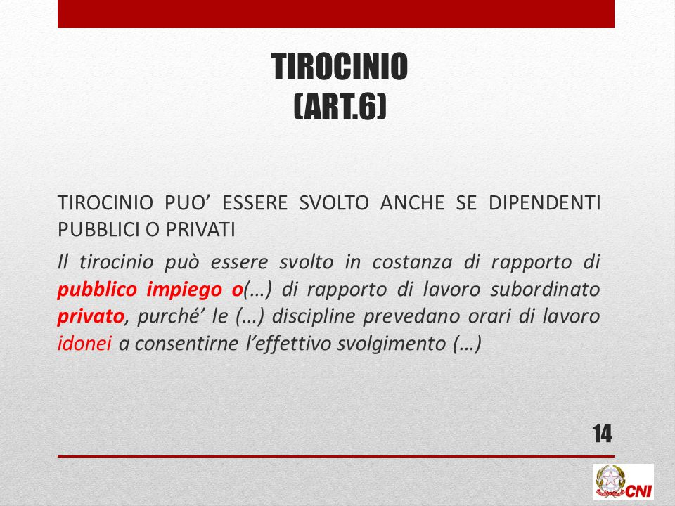 TIROCINIO (ART.6)