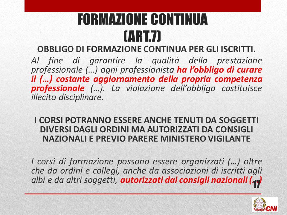 FORMAZIONE CONTINUA (art.7)