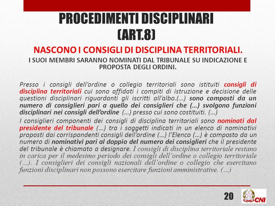 PROCEDIMENTI DISCIPLINARI (ART.8)