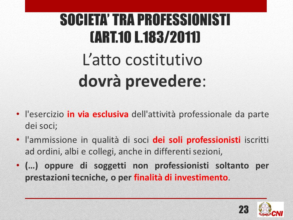 Societa' tra professionisti (ART.10 L.183/2011)